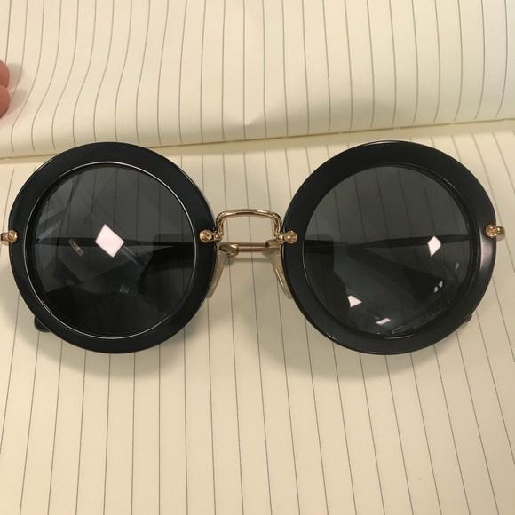 bc3c7885e957 Miu miu round black acetate sunglasses. M 5ae883015512fd1eef1a9e6b. Other  Accessories ...